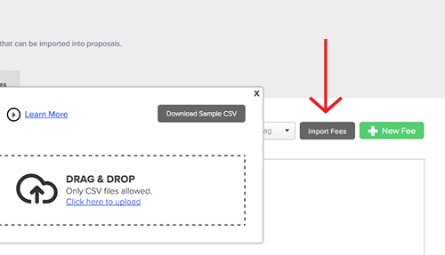 Proposify importing fees step 1