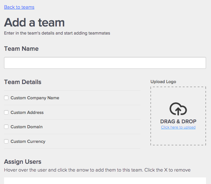 Adding a Team