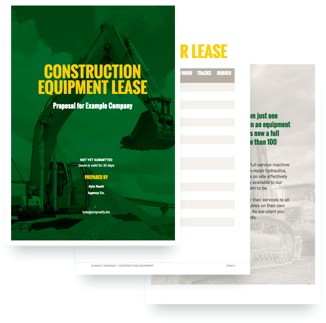 construction equipment proposal template